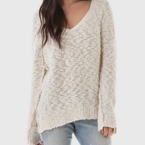Free People Creme V Neck Sweater Size S